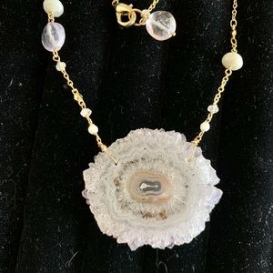 Jewelry - Necklace Gold and Sliced Pink Stone